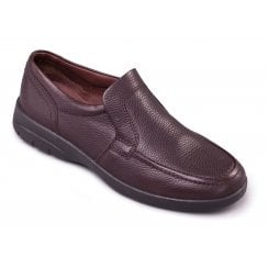 Leo Dark Brown Leather Casual Slip On Shoe