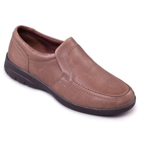 Padders Leo Taupe Leather Casual Slip On Shoe
