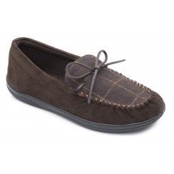 Lounge Wide Fit Brown Combi Moccasin Style Slipper