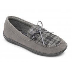 Lounge Wide Fit Grey Combi Moccasin Style Slipper