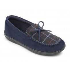 Lounge Wide Fit Navy Combi Moccasin Style Slipper