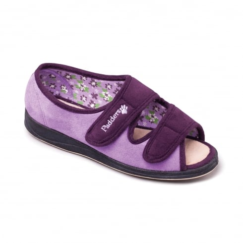 Padders Lydia Purple Easy Fasten Slipper