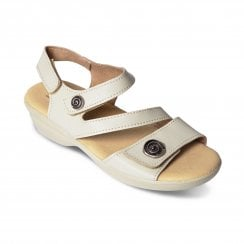 Madeira Std Fit Beige Leather Velcro Sandal