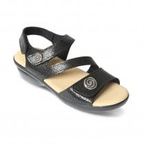 Madeira Std Fit Black Patent Leather Velcro Sandal