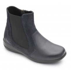 Margot 2E/3E Fit Navy Flat Leather Ankle Boot
