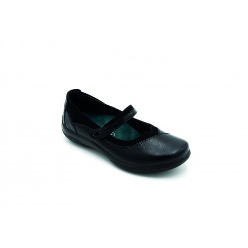 Padders Medley 2E/3E Fit Black Flat Leather Mary Jane Shoe