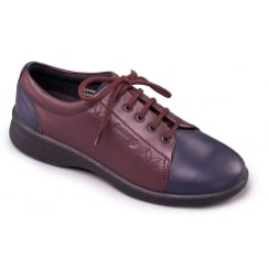Navy/bordeaux leather flat lace up shoe