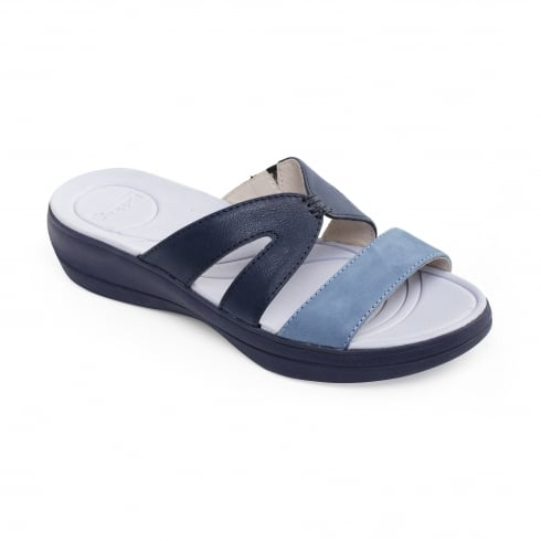Padders Navy combi leather flat slip on sandal