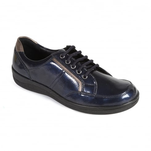 Padders Navy leather flat lace up shoe