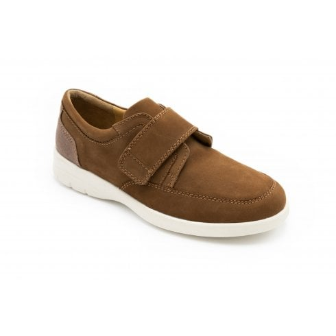 Padders Neon Wide Fit Tan Combi Leather Velcro Shoe