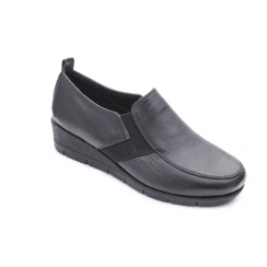Nova E Fit Navy Leather Wedge Elasticated Shoe