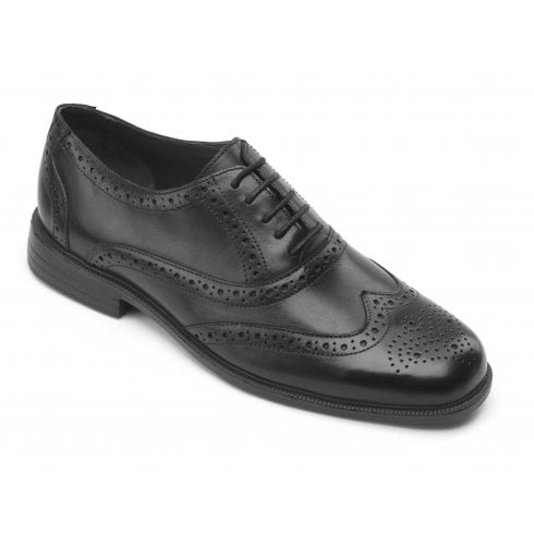 Padders Oxford Black Leather Brogue Shoe