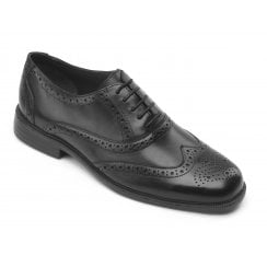 Oxford Black Leather Brogue Shoe
