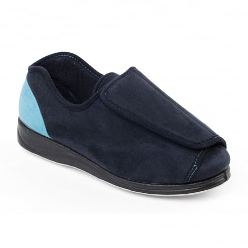 Padders Paula Navy Wrap Over Slipper