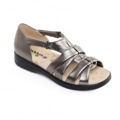 Pewter/bronze leather flat velcro sandal
