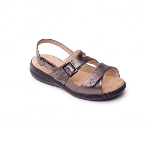 Padders Pewter leather effect flat velcro and buckle sandal