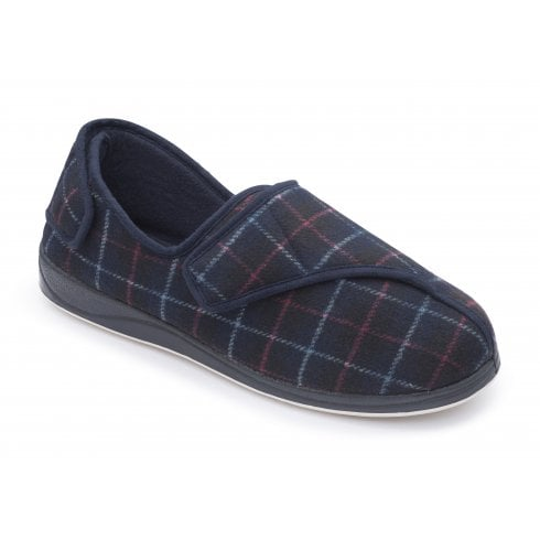 Padders Phillip Extra Wide Fit Navy Combi Strap Slipper