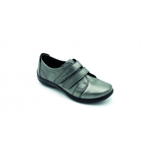 Padders Piano 2E/3E Fit Gunmetal Leather Flat Twin Velcro Shoe