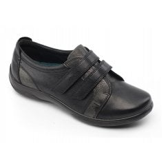 Piano Black Leather Flat Twin Velcro Shoe