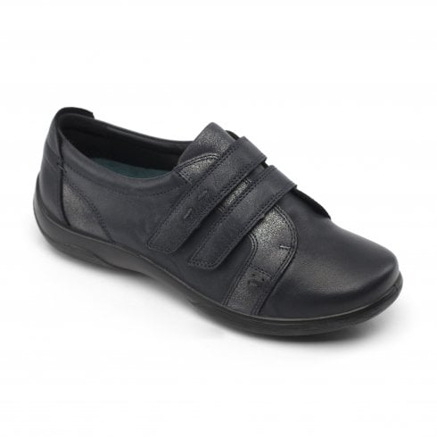 Padders Piano Navy Leather Flat Twin Velcro Shoe