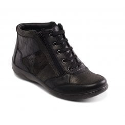 Piccolo Black Leather Flat Lace Up Ankle Boot