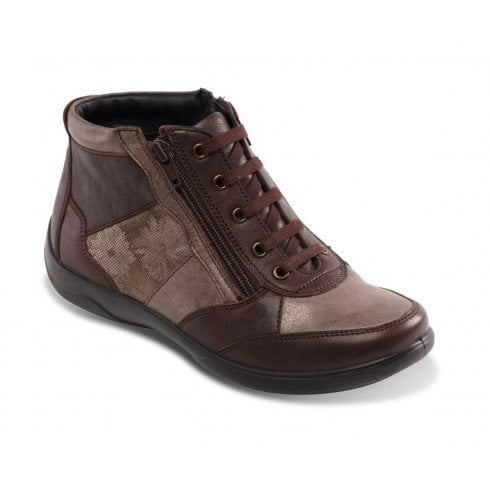 Padders Piccolo Brown Leather Flat Lace Up Ankle Boot