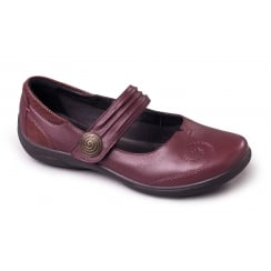 Poem Burgundy Leather Flat Mary Jane Velcro Shoe