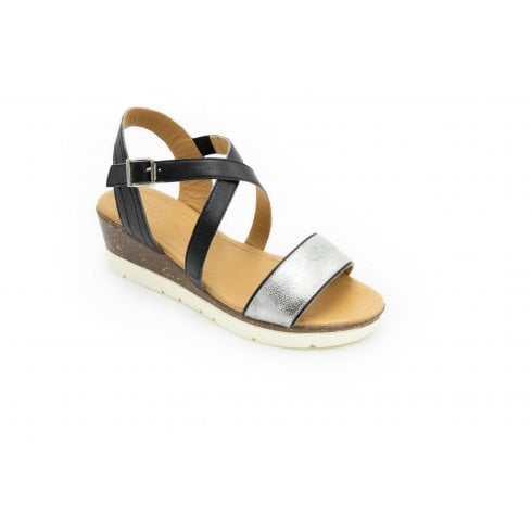 Padders Primrose Std Fit Black Leather Wedge Sandal