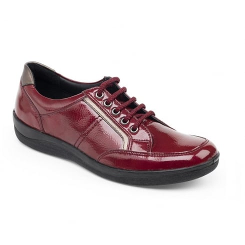 Padders Red patent leather flat lace up shoe