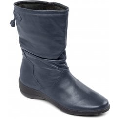 Regan Navy Leather Flat Calf Boot