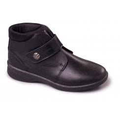 Rejoice Black Leather Flat Ankle Boot