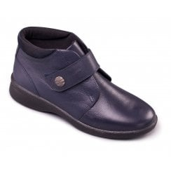 Rejoice Navy Leather Flat Ankle Boot