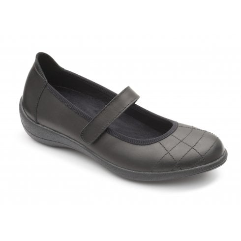 Padders Robyn D/E Fit Black Leather Flat Mary Jane Style Shoe