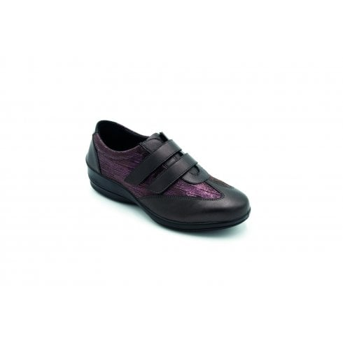 Padders Sadie E/2E Fit Rosewood Combi Flat Twin Velcro Shoe