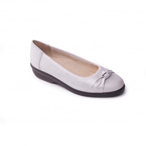 Padders Silver leather flat ballet pump style shoe