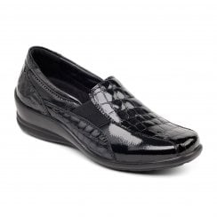Skye Black Crocodile Leather Flat Slip On Shoe