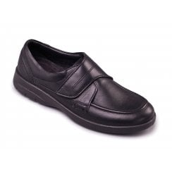 Solar Black Leather Velcro Fasten Shoe