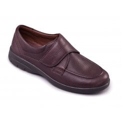 Solar Dark Brown Leather Velcro Fasten Shoe