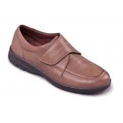 Solar Taupe Leather Velcro Fasten Shoe