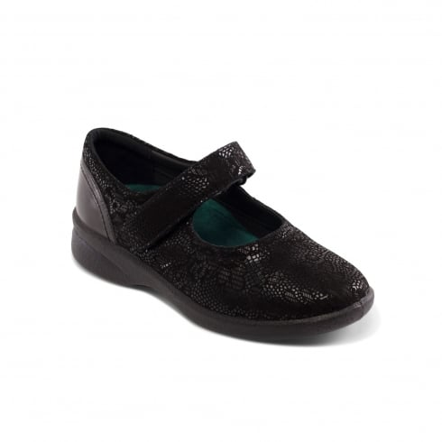 Padders Sprite Black Floral Print Leather Flat Mary Jane Velcro Shoe