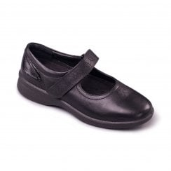 Sprite Black Leather Flat Mary Jane Velcro Shoe