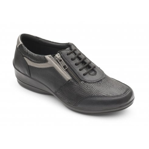 Padders Steffi Black Leather Flat Lace Up Shoe
