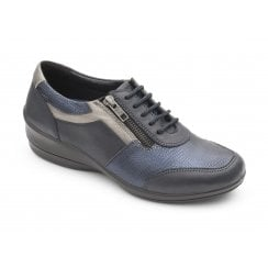 Steffi Navy Leather Flat Lace Up Shoe