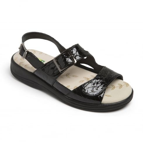 Padders Sunray Black Patent Crocodile Two Strap Buckle Sandal