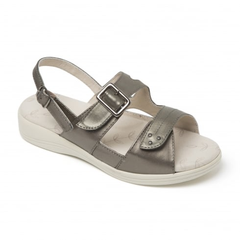 Padders Sunray Pewter Two Strap Buckle Sandal