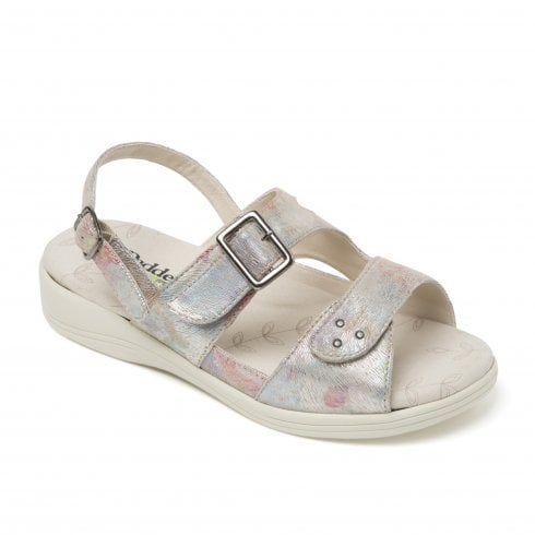 Padders Sunray Taupe Rainbow Two Strap Buckle Sandal