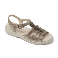 Sunrise Metallic Reptile Leather Flat Buckle Strap Sandal