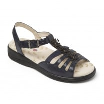 Sunrise Navy Reptile Leather Flat Buckle Strap Sandal