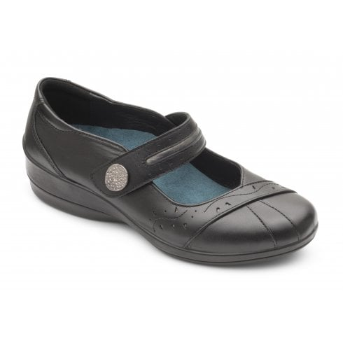 Padders Sunshine Black Leather Flat Mary Jane Shoe