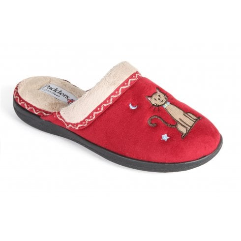 Padders Tabby Red Mule Slipper
